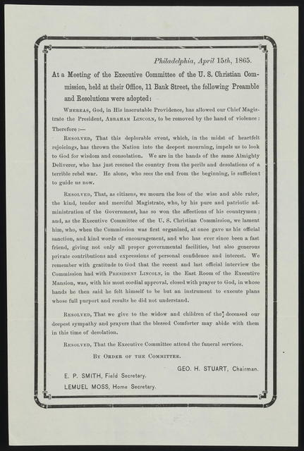 At a meeting of the Executive Committee of the U. S. Christian Commission, held at their Office, 11 Bank Street, the following Preamble and Resolutions were adopted.