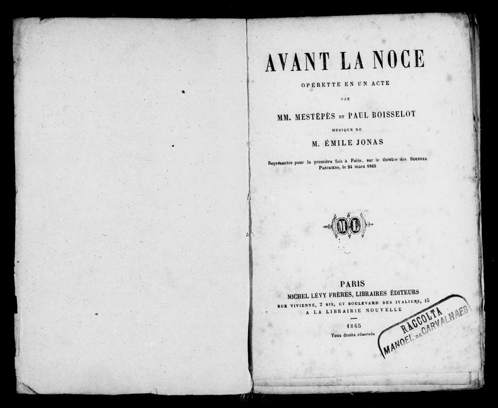 Avant la noce. Libretto. French