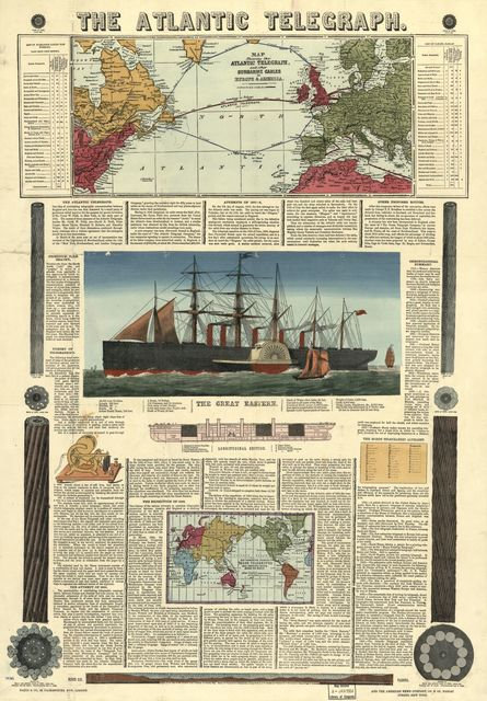 Bacon's chart of the Atlantic Telegraph : containing a history of telegraphy, origin and progress of the Atlantic Telegraph, description of the old and new cables, etc., etc. : illustrated by maps, engravings, diagrams, etc.