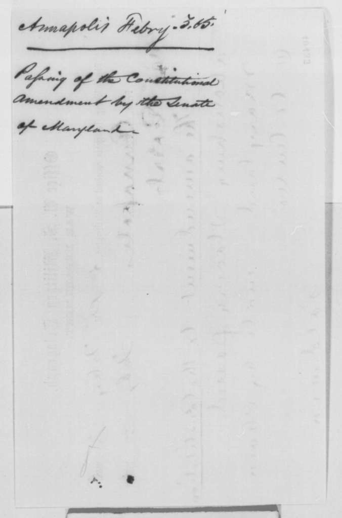 Baldwin to Thomas T. Eckert, Friday, February 03, 1865  (Telegram reporting ratification of 13th Amendment by Maryland Senate)