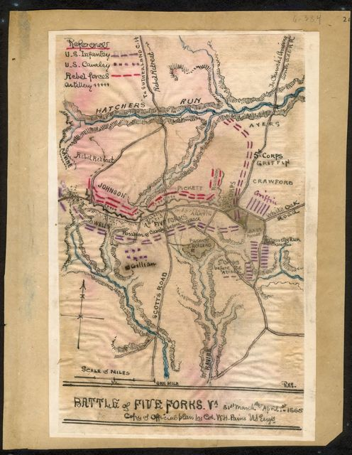 Battle of Five Forks 31st March and April 1st 1865 Copy of official plan by Col. W. H. Paine U.S. Engrs.