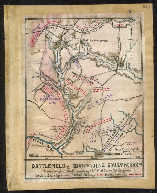 Battlefield of Dinwiddie Courthouse, Va. from official map made by Col. W. H. Paine U.S. Engineers.