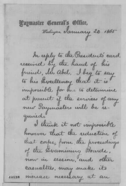 """Benjamin William Brice to Abraham Lincoln, Friday, January 20, 1865  (Paymastership for """"Mr. Abel"""")"""