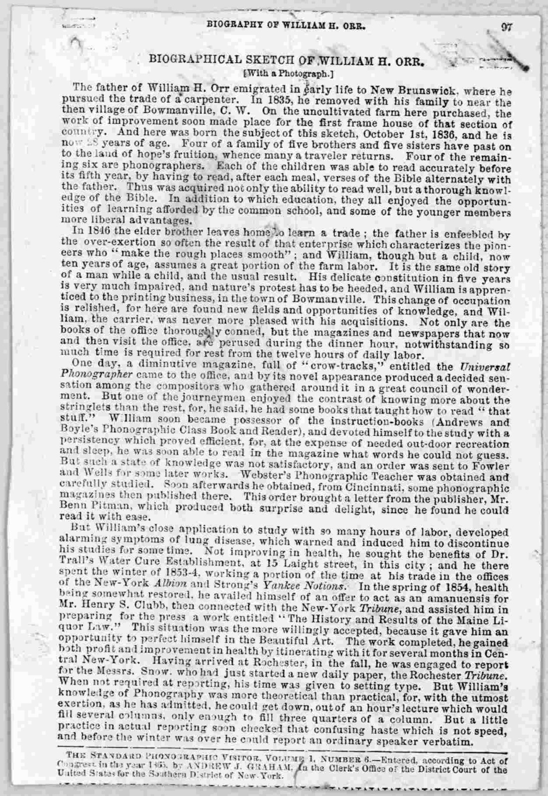 Biographical sketch of William H. Orr [New York? c. 1865].