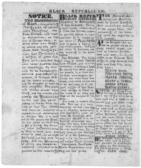Black republican and office-holders journal. No. 5. for the elevation of negroes, gorillas, and ourang-outangs. September, 1865.