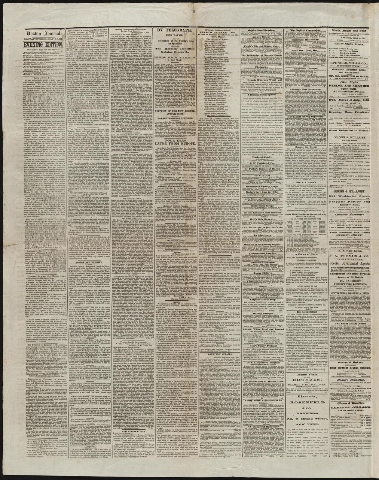 Boston Daily Journal, [newspaper]  July 3, 1865  - PICRYL