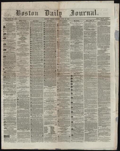 Boston Daily Journal, [newspaper]. June 23, 1865.