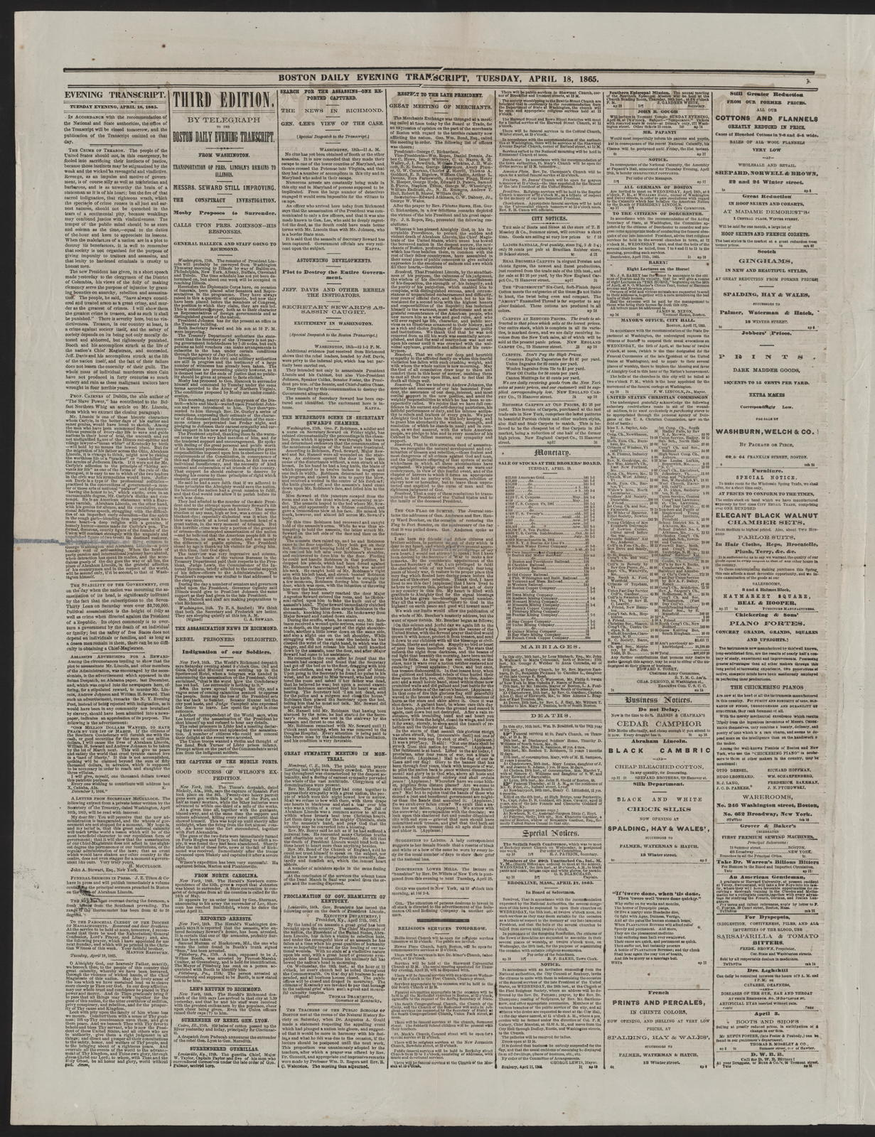 Boston Evening Transcript, [newspaper]. April 18, 1865.