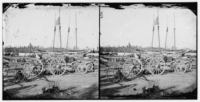 Broadway Landing, Appomattox River, Virginia. Supply boats and stores