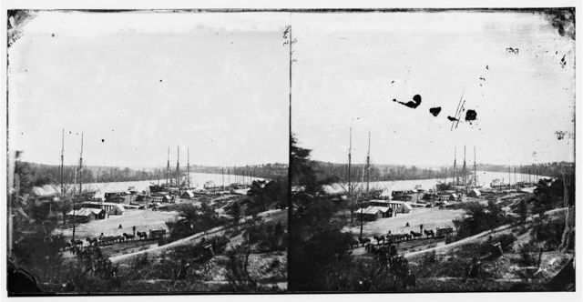 Broadway Landing, Appomattox River, Virginia. View of docks and supply boats