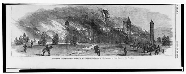 Burning of the Smithsonian Institute at Washington, January 24, 1865 / sketched by Philip Wharton.