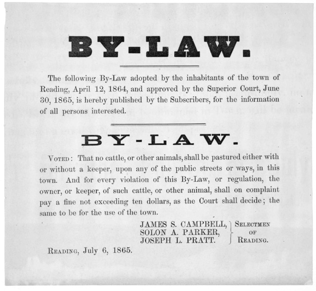 By-law. The following by-law adopted by the inhabitants of the town of Reading, April 12, 1864 ... is hereby published ... Voted: That no cattle or other animals, shall be pastured either with or without a keeper, upon any of the public streets
