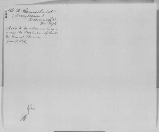 C. W. Sonnenschmidt to Abraham Lincoln, Saturday, January 07, 1865  (Wants to engross resolution of thanks to General Sherman)