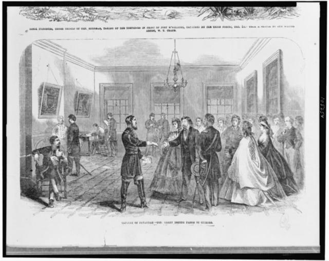 Capture of Savannah--Gen. Geary issuing passes to citizens