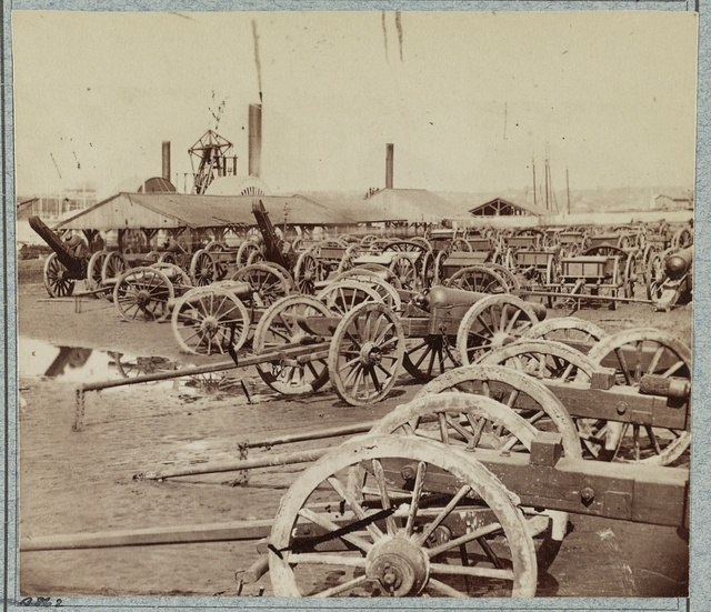 Captured Confederate artillery on docks at Rocketts