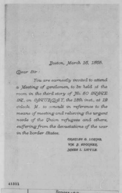 Charles G. Loring, William B. Spooner and James L. Little, Thursday, March 16, 1865  (Printed invitation)
