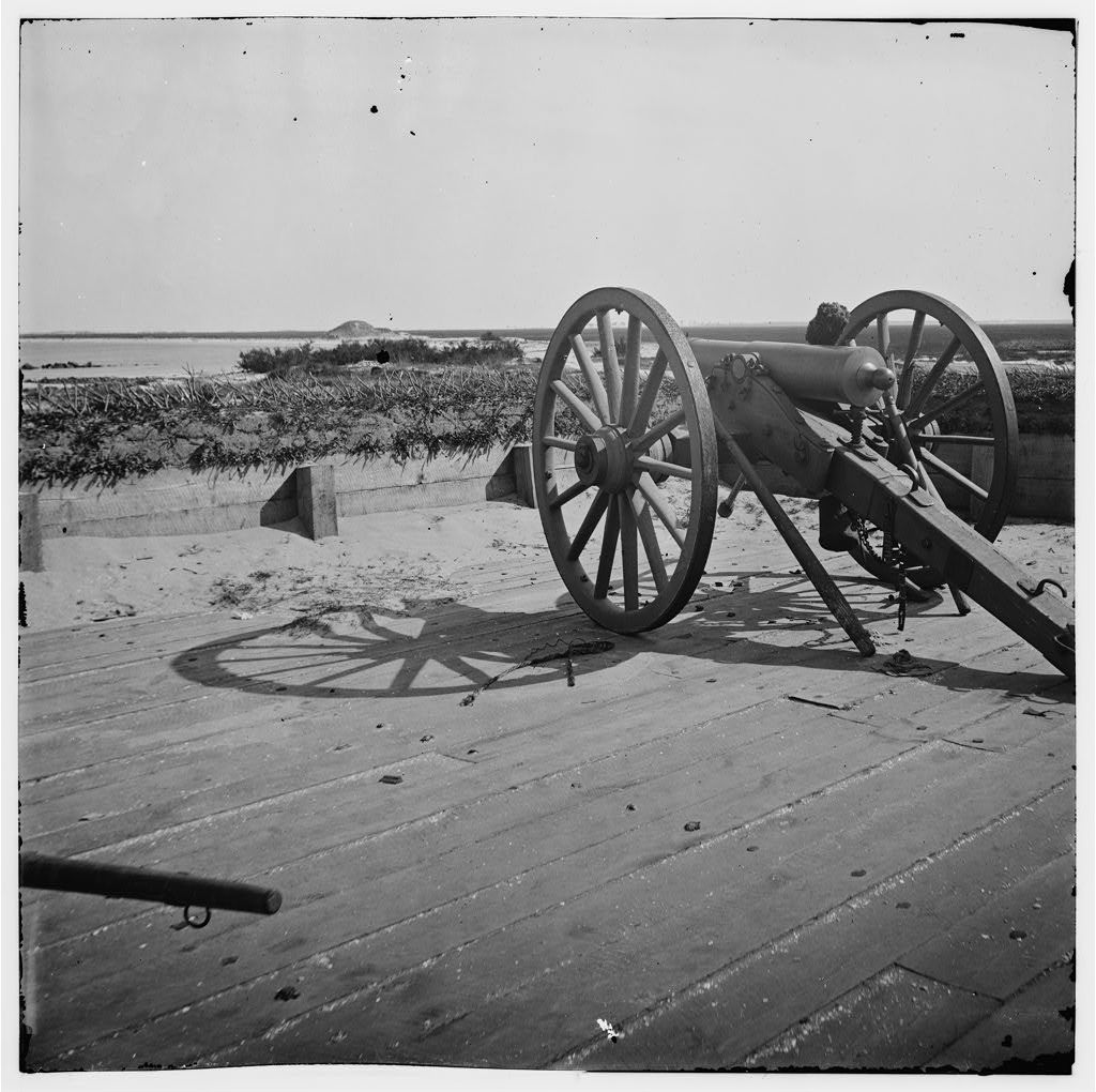 Charleston Harbor, South Carolina. View from parapet (east angle) of Fort Sumter facing Morris Island