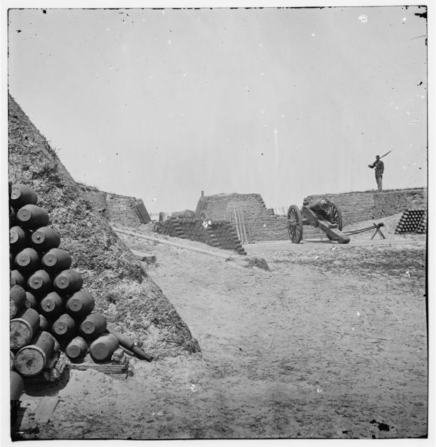 [Charleston, S.C. Parapet of Fort Sumter, with stacks of ammunition]