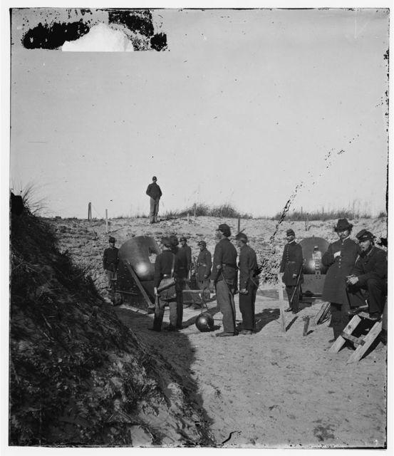 Charleston, South Carolina (vicinity). Federal mortar battery with crew on Morris Island