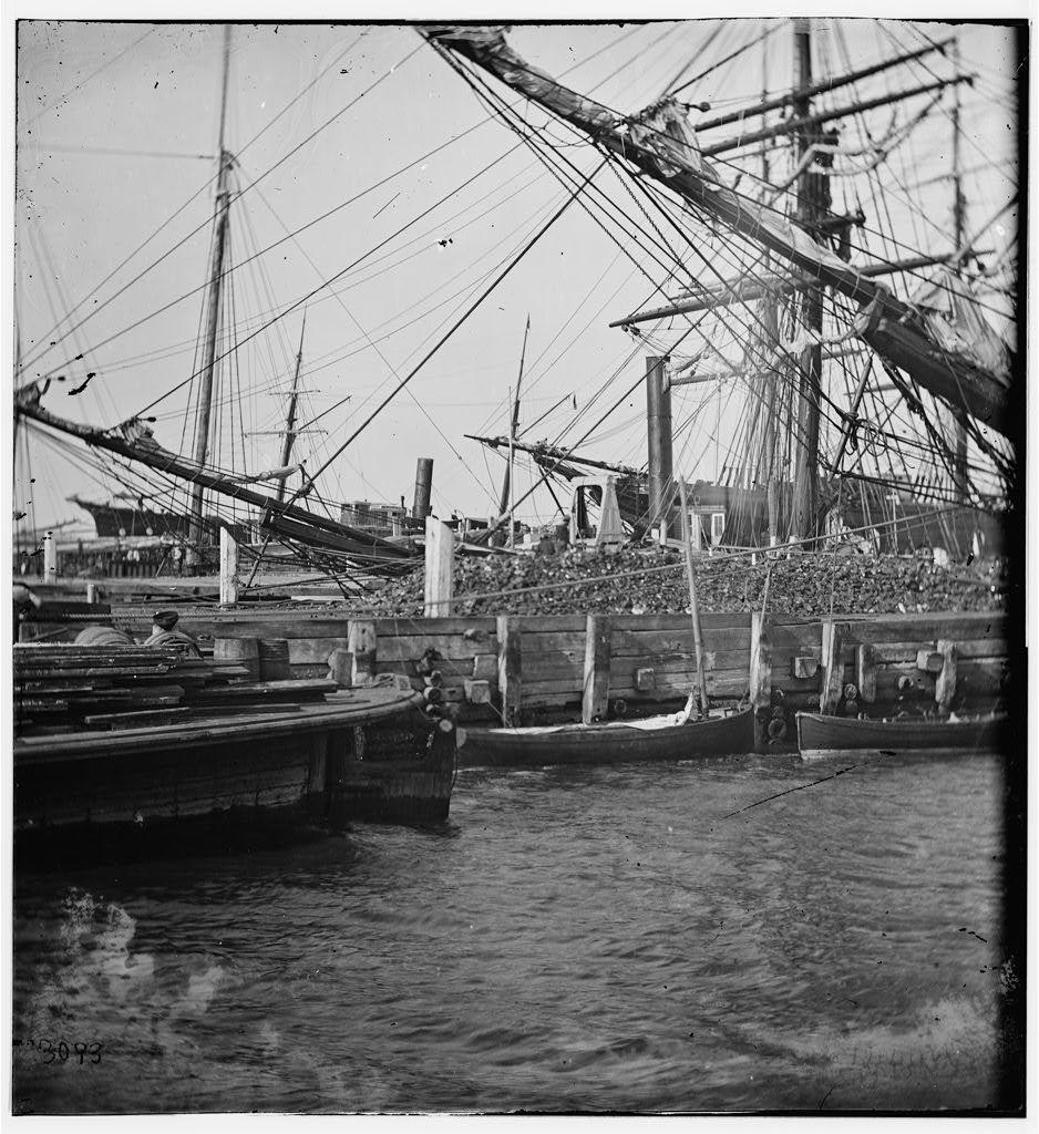 Charleston, South Carolina. View of the wharves near the Battery
