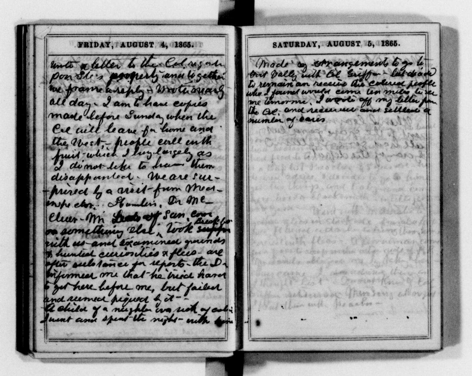 Clara Barton Papers: Diaries and Journals: 1865, Jan.-Dec.