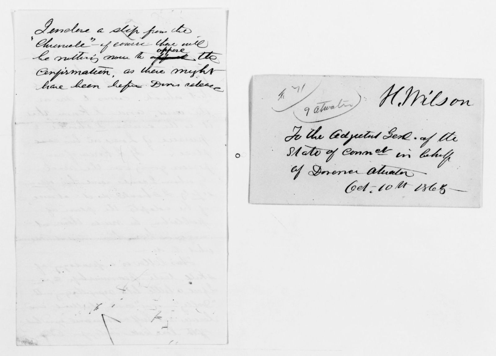 Clara Barton Papers: Subject File, 1861-1952; Civil War; Atwater, Dorence; Correspondence, 1865-1912, undated, Atwater, Dorence