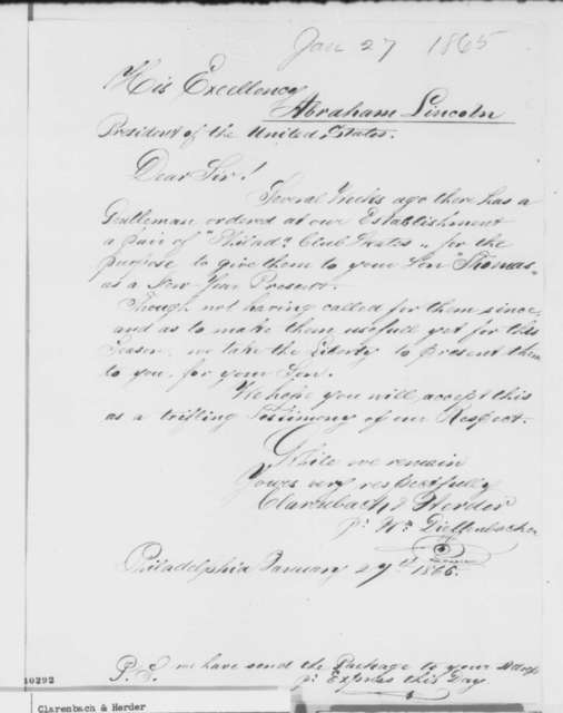 Clarenbach & Herder to Abraham Lincoln, Friday, January 27, 1865  (Send skates for Tad Lincoln)