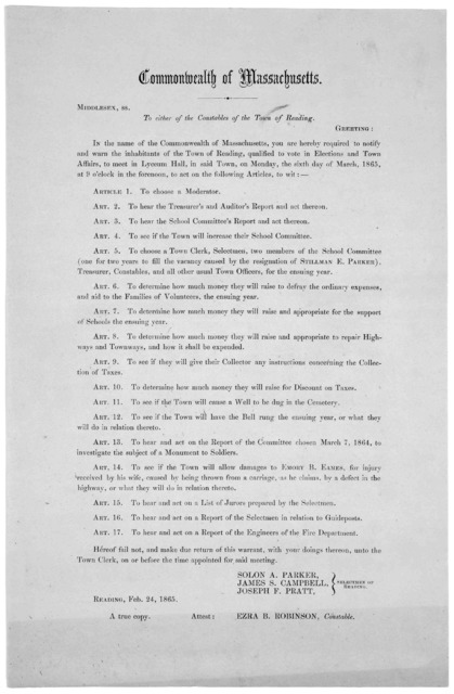 Commonwealth of Massachusetts. Middlesex, ss. To either of the constables of the Town of Reading. Greeting: In the name of the Commonwealth of Massachusetts, you are hereby required to notify and warn the inhabitants of the Town of Reading, qual