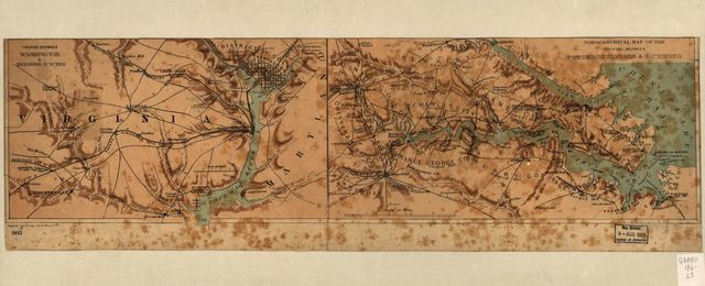 Country between Washington & Manassas Junction [and] Topographical map of the country between Fortress Monroe & Richmond.