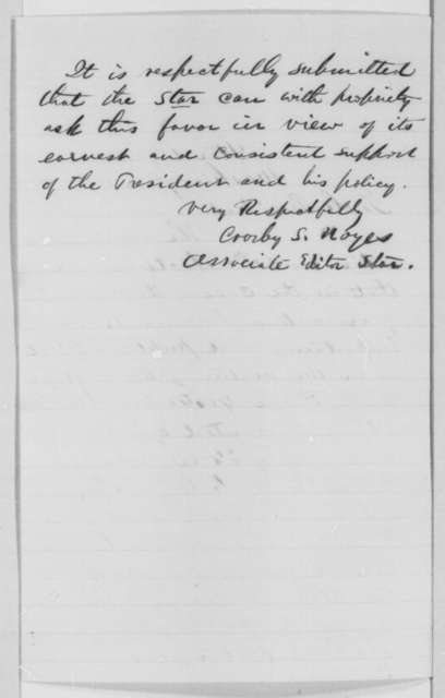 "Crosby S. Noyes to Abraham Lincoln, Saturday, February 11, 1865  (Washington ""Star"" wishes equal access to executive documents for publication)"