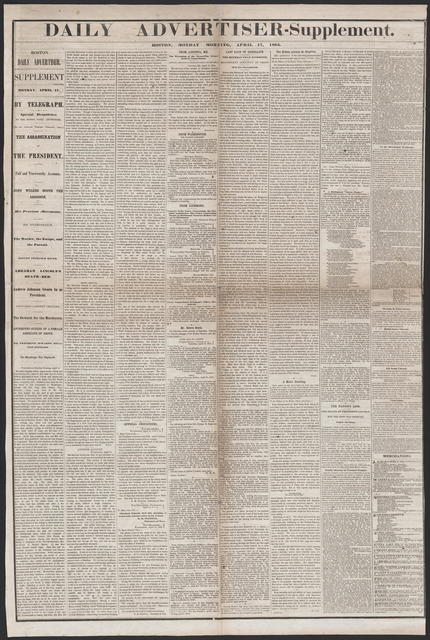 Daily Advertiser, [newspaper]. April 17, 1865.