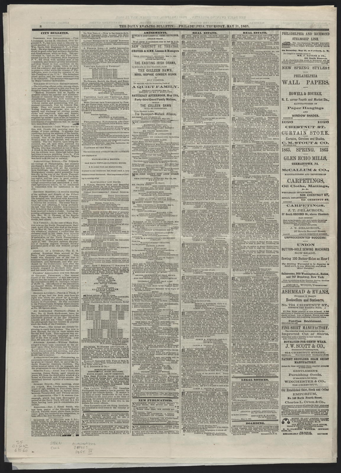 Daily Evening Bulletin, [newspaper]. May 11, 1865.