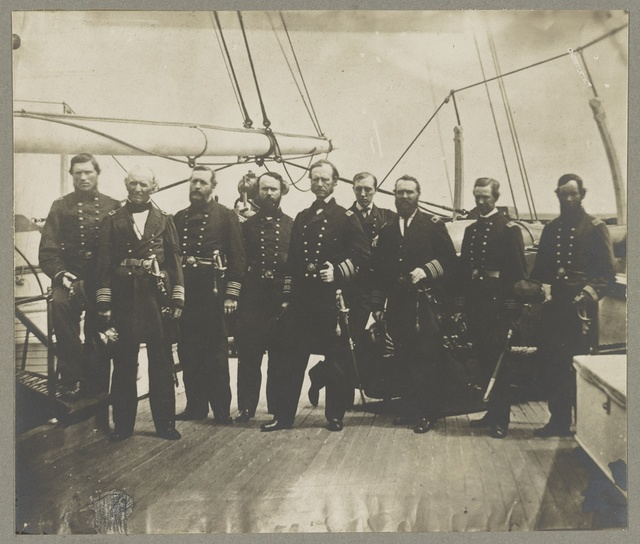 Dalgren [i.e. Dahlgren], Admiral and his staff on U.S.S. Pawnee