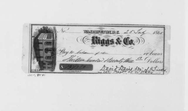 David Davis to Estate of Abraham Lincoln, Tuesday, July 25, 1865  (Check)