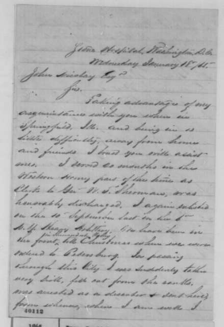David R. Ives to John G. Nicolay, Wednesday, January 18, 1865  (Requests pardon for desertion)