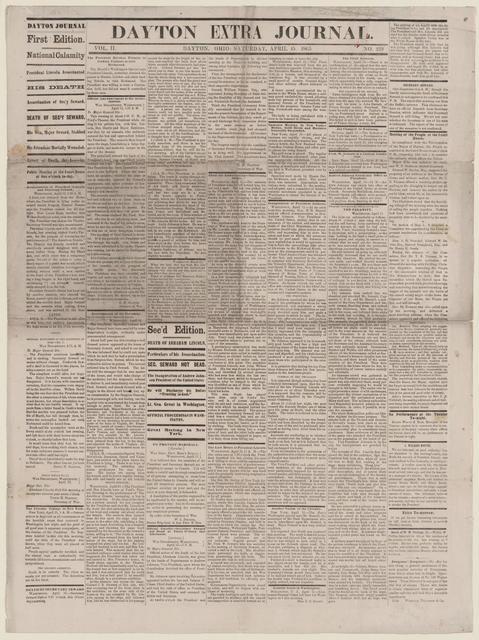 Dayton Extra Journal, [newspaper]. April 15, 1865.