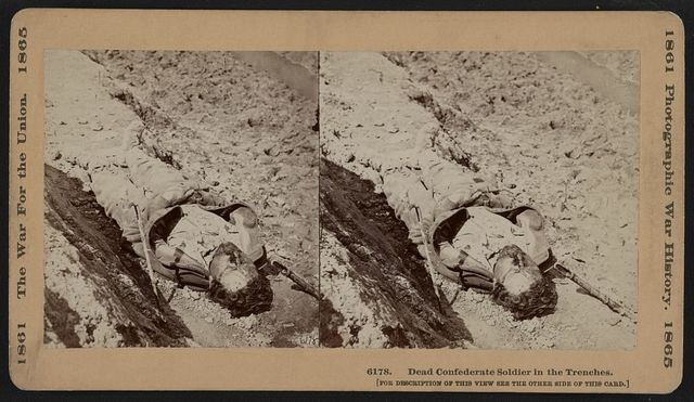 Dead Confederate soldier in the trenches