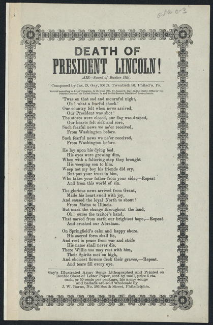 Death of Abraham Lincoln!