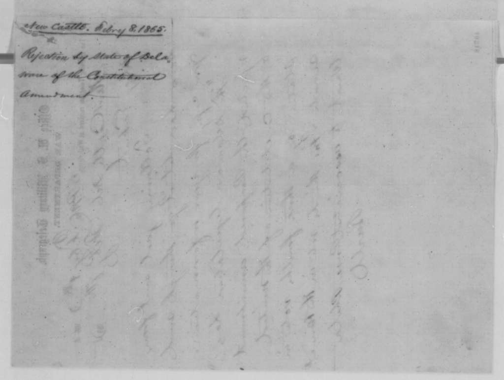 [Don C.] Buell to Thomas T. Eckert, Wednesday, February 08, 1865  (Telegram reporting defeat of 13th Amendment in Delaware)