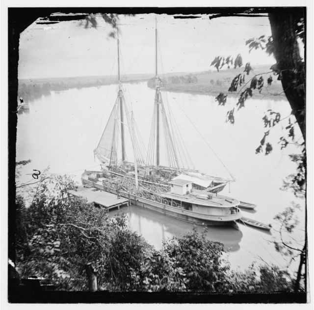 Drewry's Bluff, Virginia. Federal transports with cargoes of artillery on the James