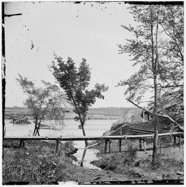 Drewry's Bluff, Virginia. View of Confederate Fort Darling and obstructions in James River