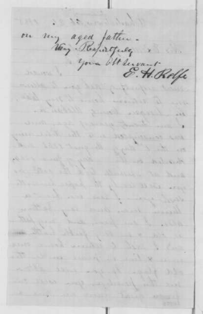 E. H. Rolfe to Abraham Lincoln, Tuesday, February 21, 1865  (Wants to return to Alabama)