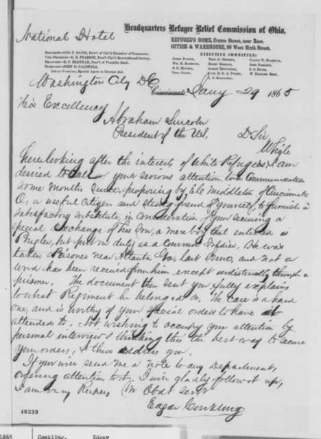 Edgar Conkling to Abraham Lincoln, Sunday, January 29, 1865  (Requests prisoner exchange)