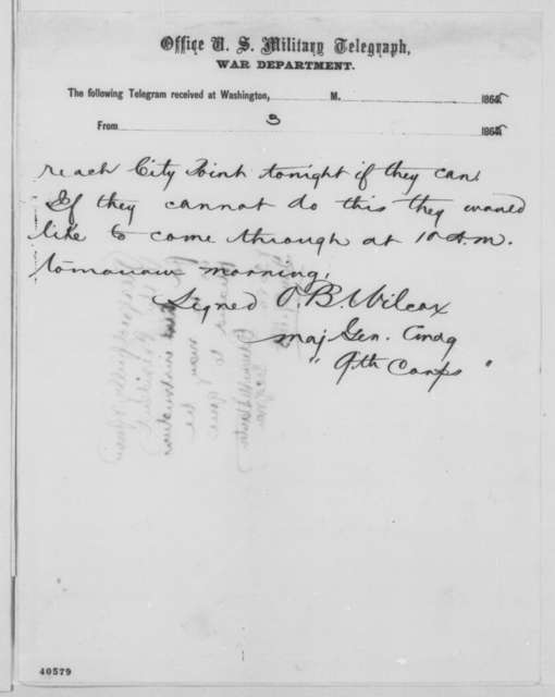Edward O. C. Ord to Edwin M. Stanton, Sunday, January 29, 1865  (Telegram concerning Hampton Roads Conference; endorsed by Stanton)