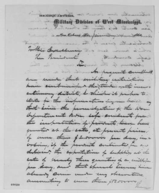 Edward R. S. Canby to Abraham Lincoln, Saturday, January 14, 1865  (Trade with areas in rebellion)