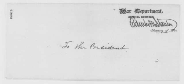 Edwin M. Stanton to Abraham Lincoln, Monday, March 06, 1865  (Case of Charles W. Hall)
