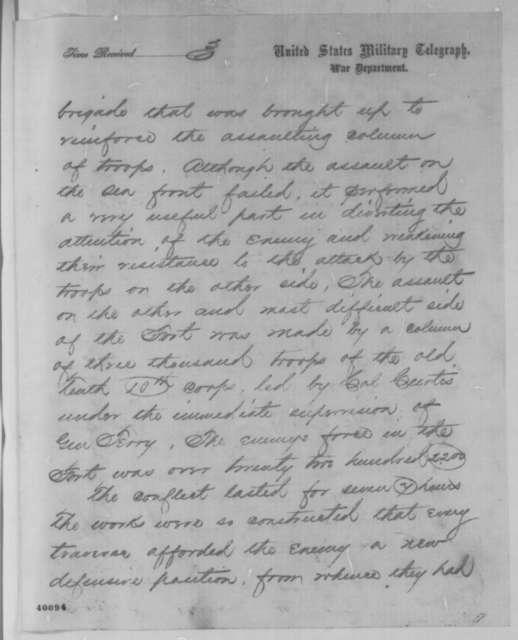 Edwin M. Stanton to Abraham Lincoln, Tuesday, January 17, 1865  (Telegram reporting capture of Fort Fisher)