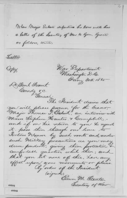 Edwin M. Stanton to Ulysses S. Grant, January 30, 1865  (Hampton Roads Conference)