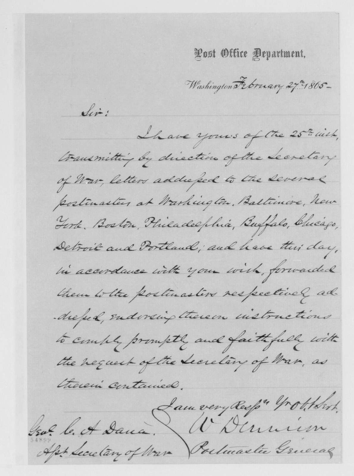 Edwin McMasters Stanton Papers: Correspondence, 1831-1870; 1865; 1865, Feb. 22-Apr. 17
