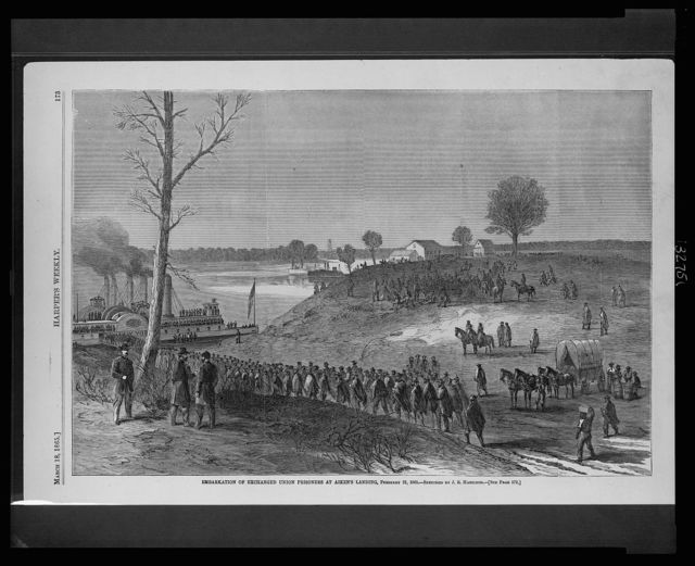 Embarkation of exchanged Union prisoners at Aiken's Landing, February 21, 1865 / sketched by J.R. Hamilton.
